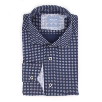 Navy Shirt With Medaillon Print
