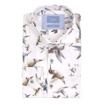 White Shirt Bird Print