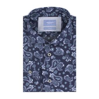 Navy Shirt Whit Paisley Print