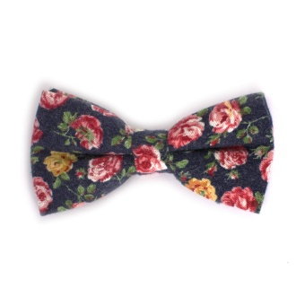 Bold Flowered Navy Bow Tie