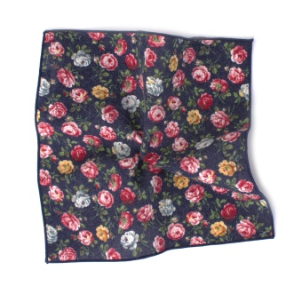 Bold Flowered Navy Pocket Square