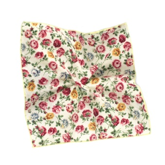 Bold Flowered Creme Pocket Square