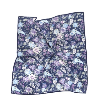 Flowerprint Navy Pocket Square