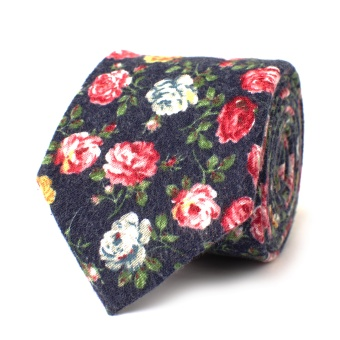 Bold Flowered Navy Tie