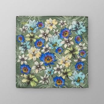 Pocket Square Grön Blommönstrad