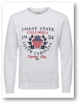 Flag Knit White/navy