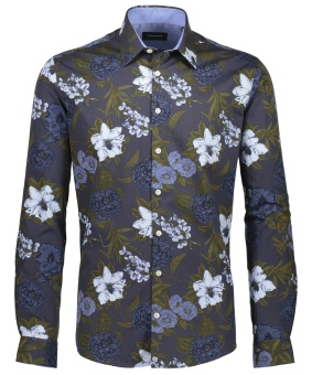 Flower Shirt Aop Blue
