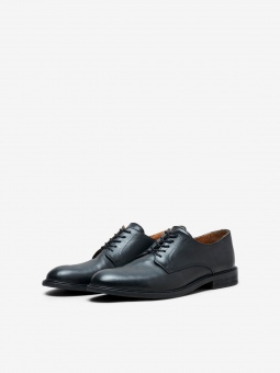 Louis Leather Derby Shoe Black
