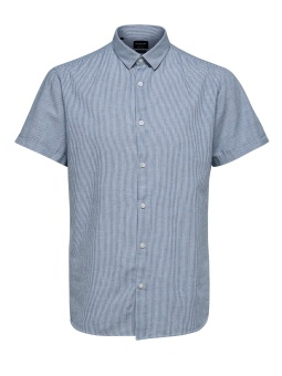 Linen Shirt SS Medieval Blue Stripes
