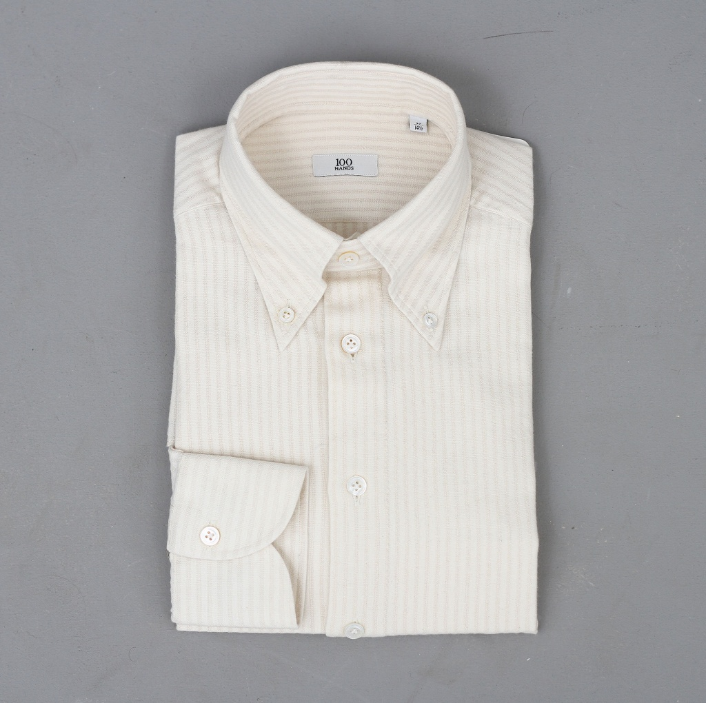 100 Hands Black Line Cream/Beige Buttondown Oxford