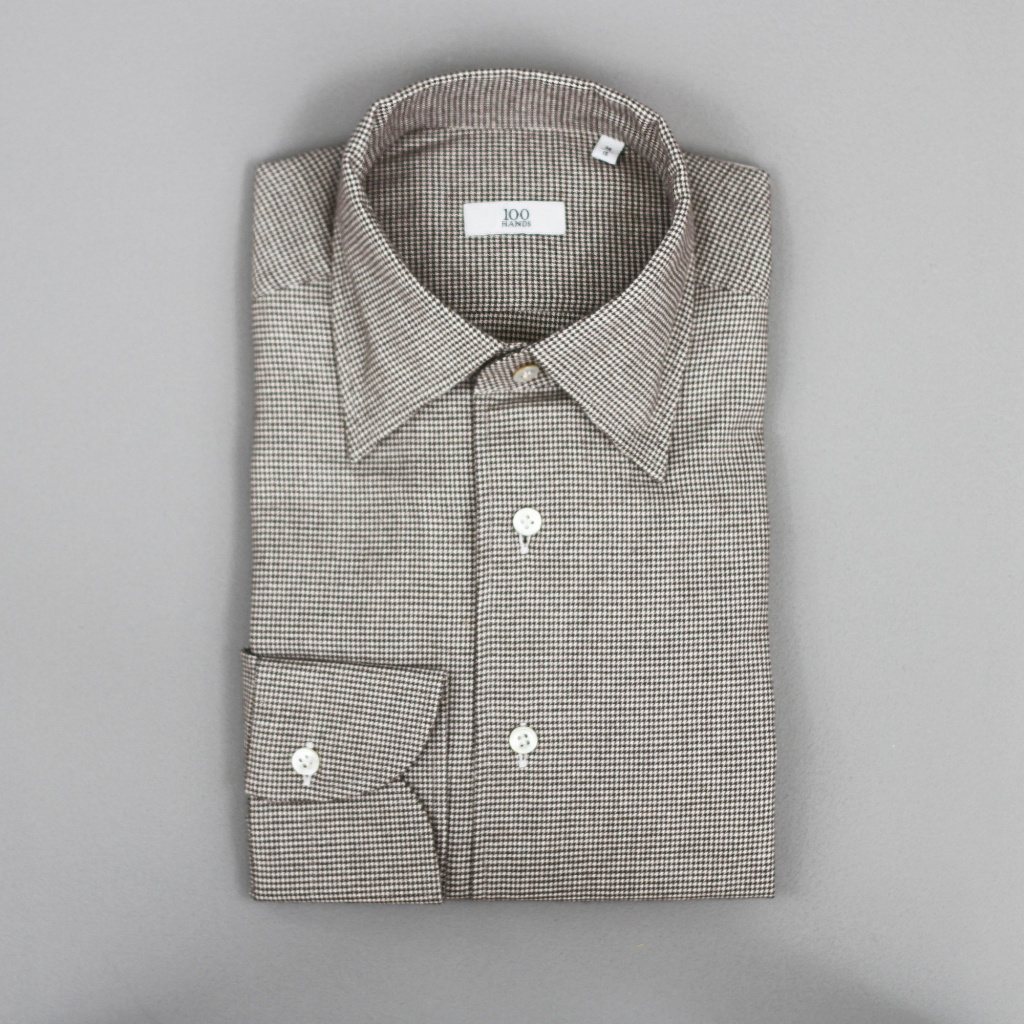 100 Hands Black Line Brown Puppytooth Brushed Cotton