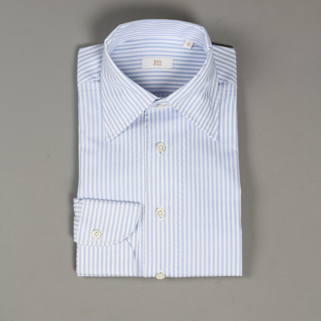 100 Hands Gold Line White Blue Stripe Oxford