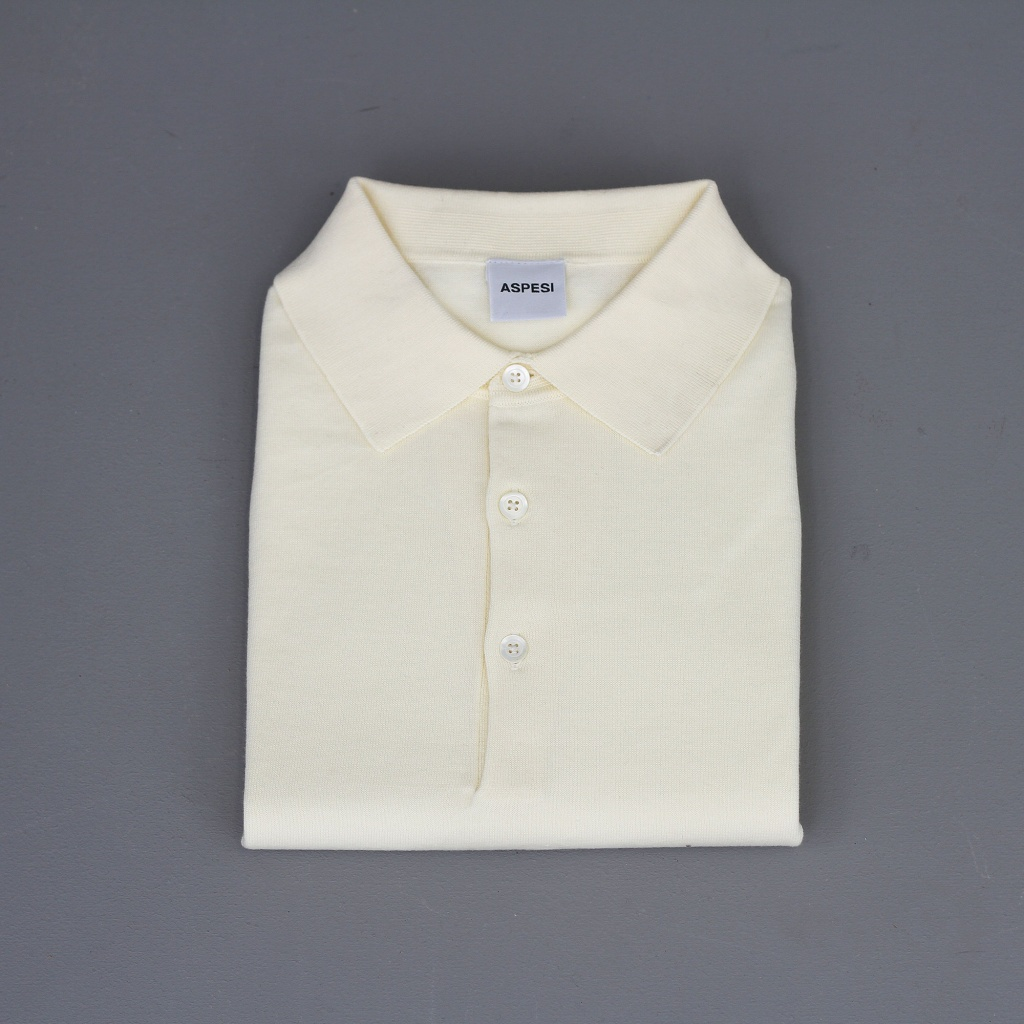 Aspesi Polo Shirt Short Sleeve Ecru Cotton