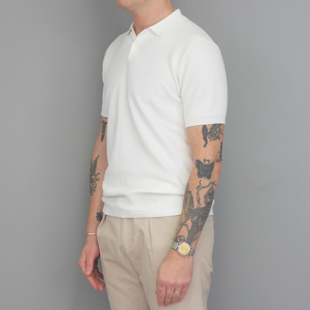 Aspesi Bubble Knit Polo Shirt White