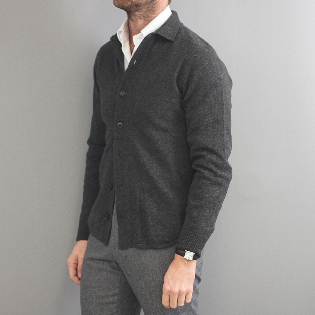 Aspesi Cardigan Knitted Charcoal