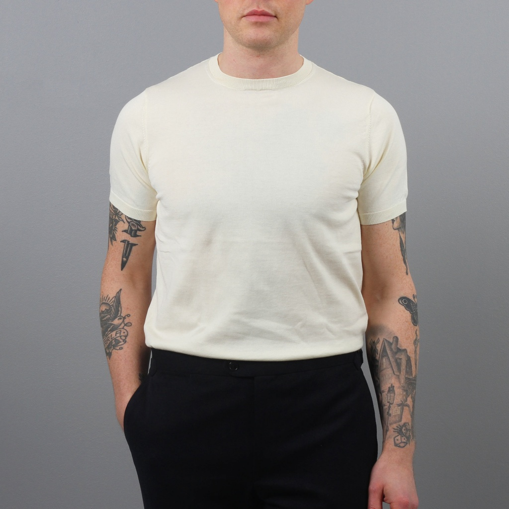 Aspesi Knitted T-Shirt Ecru Cotton