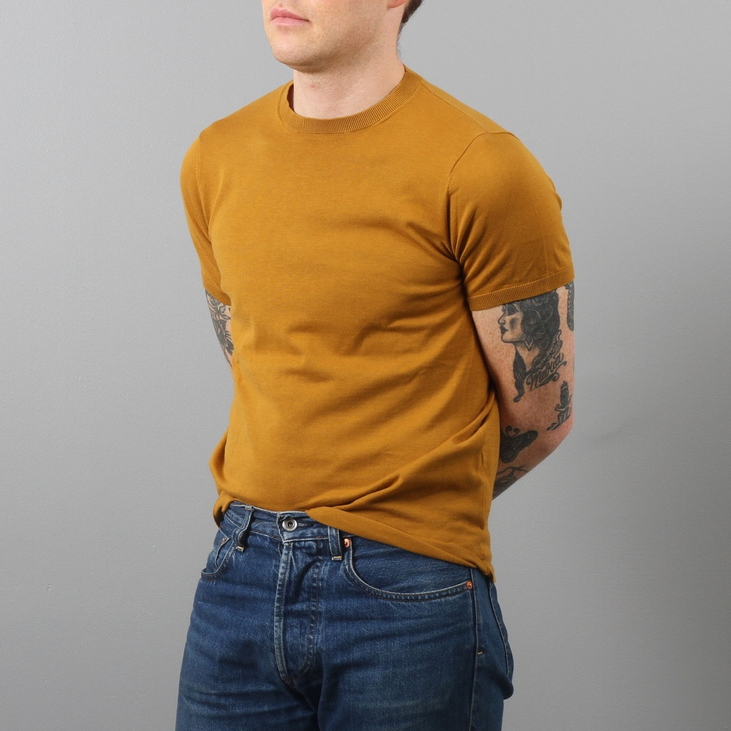 Aspesi Knitted T-Shirt Turmeric Cotton