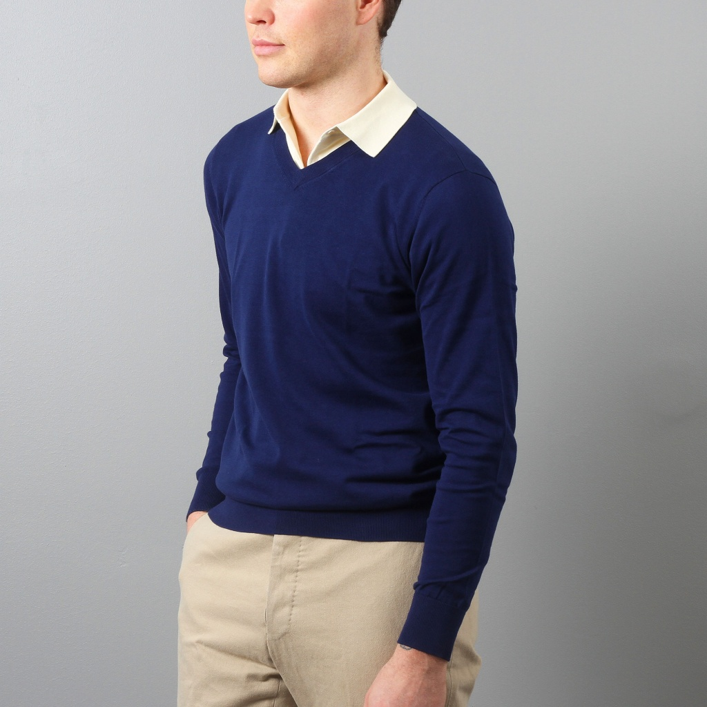 Aspesi V-neck Sweater Lagoon Blue Cotton
