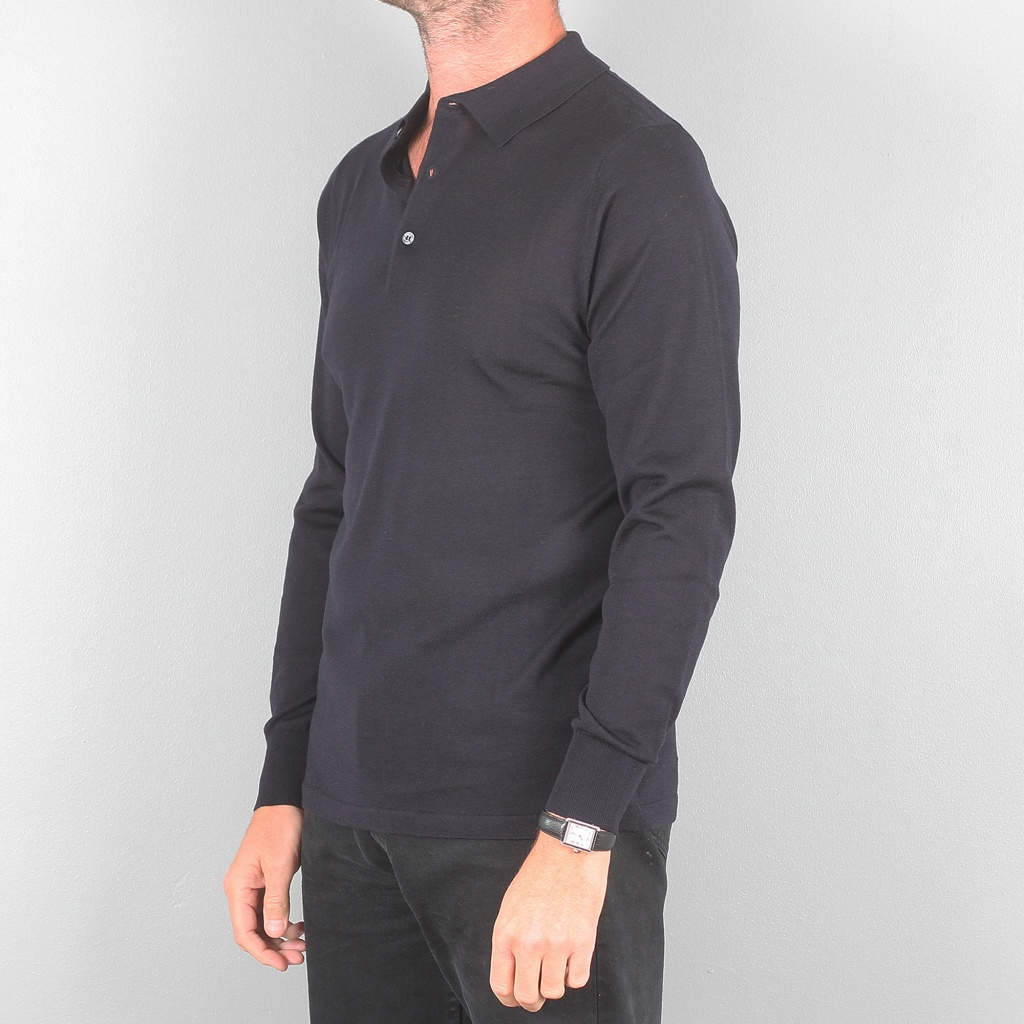 Aspesi Long Sleeve Polo Shirt Dark Navy
