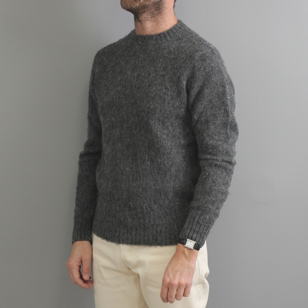 Aspesi Shaggy Dog Sweater Dark Grey