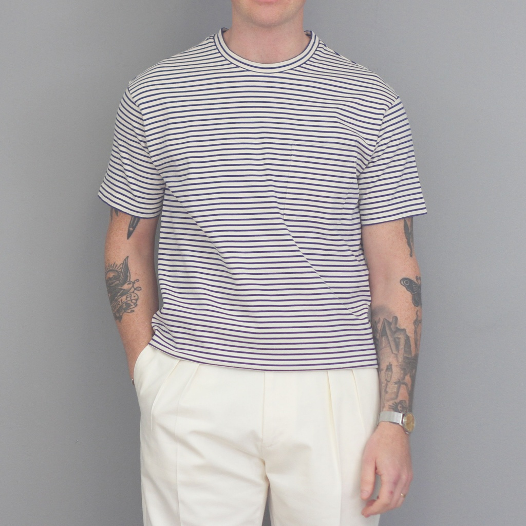 Aspesi Pocket T-Shirt Indigo/Ecru Stripe