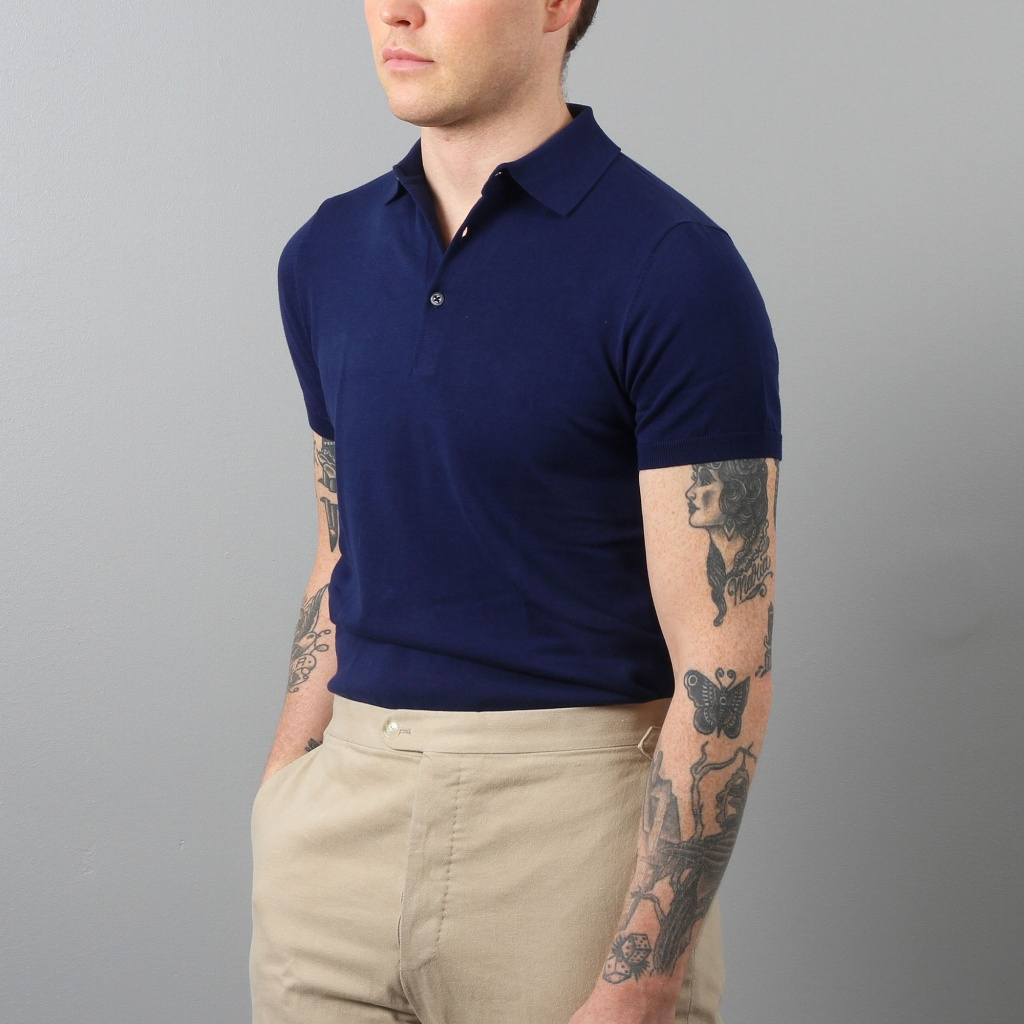 Aspesi Polo Shirt Short Sleeve Lagoon Blue Cotton