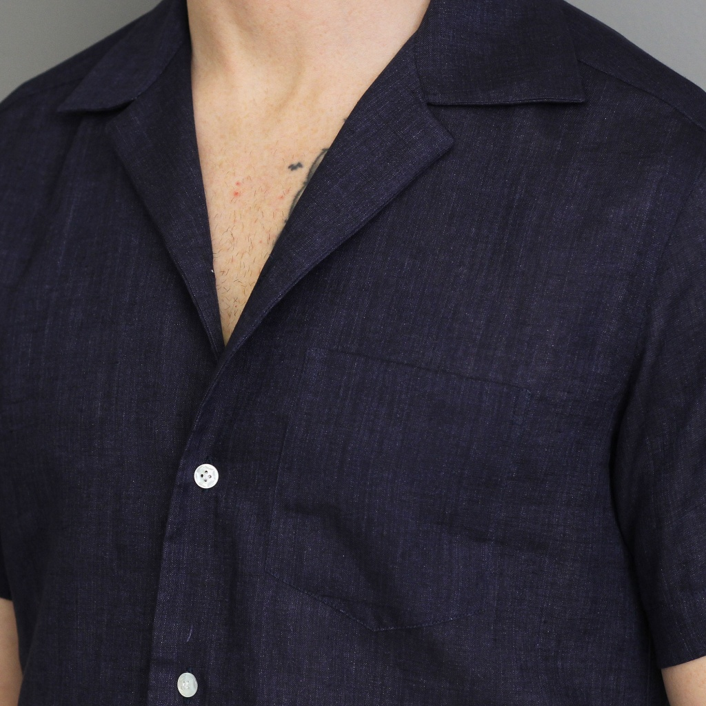 Barba Shirt Short Sleeve Linen Navy