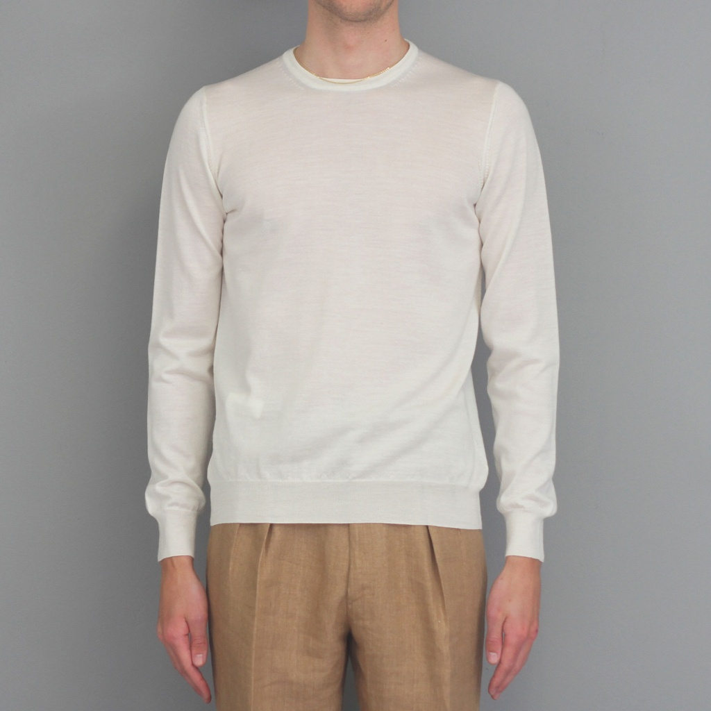 Barba Knit Long Sleeve Crew Neck Ivory