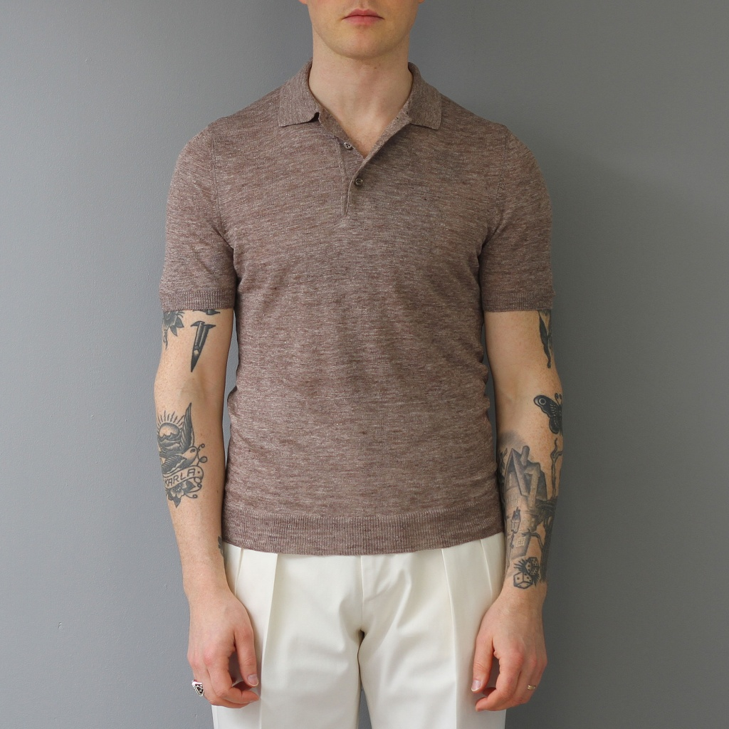 Barba Linen Polo Brown Melange