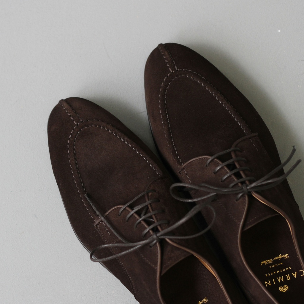 Carmina Norwegian Split Toe Derby Forest Dark Brown Suede