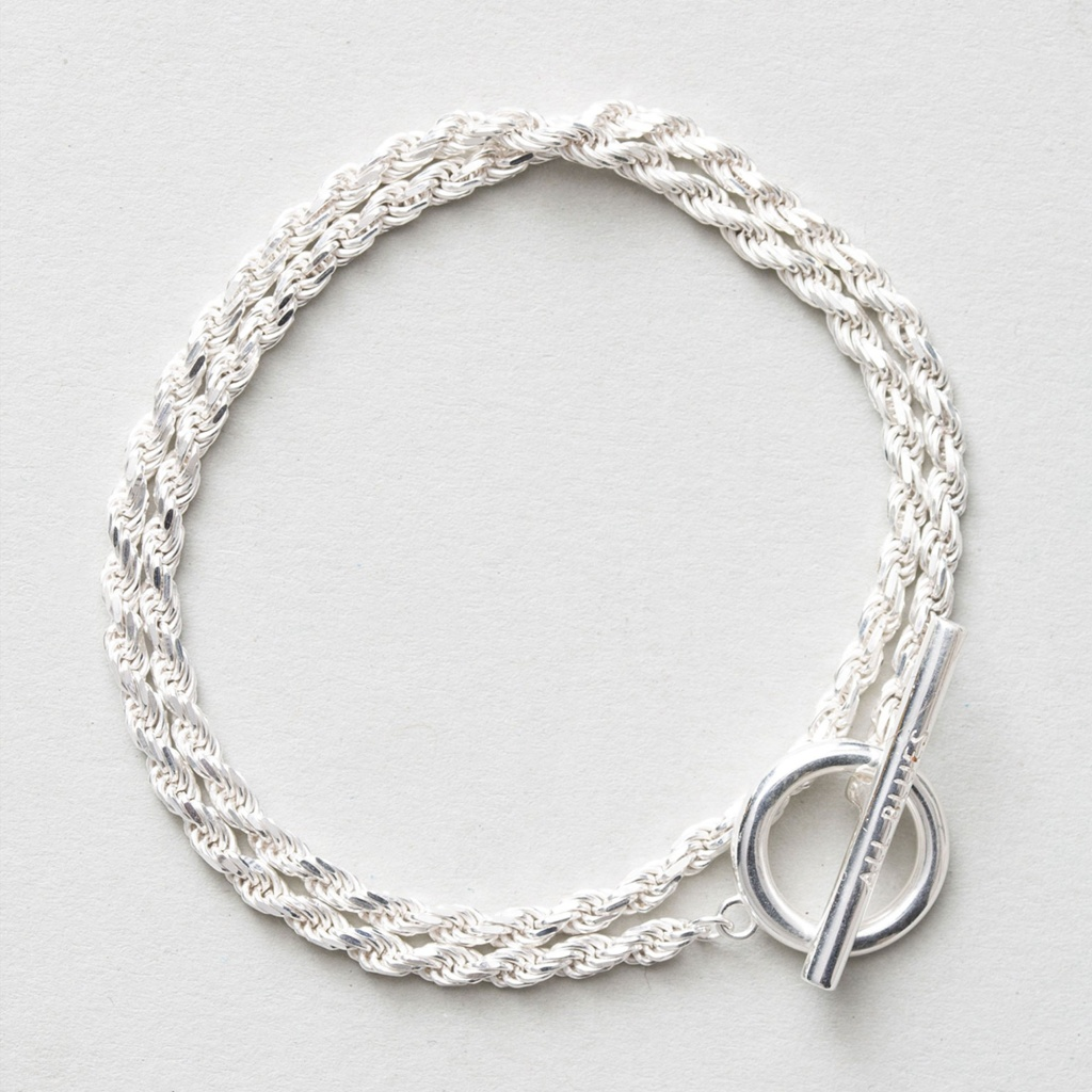 All Blues Silver Bracelet Rope Double Polished