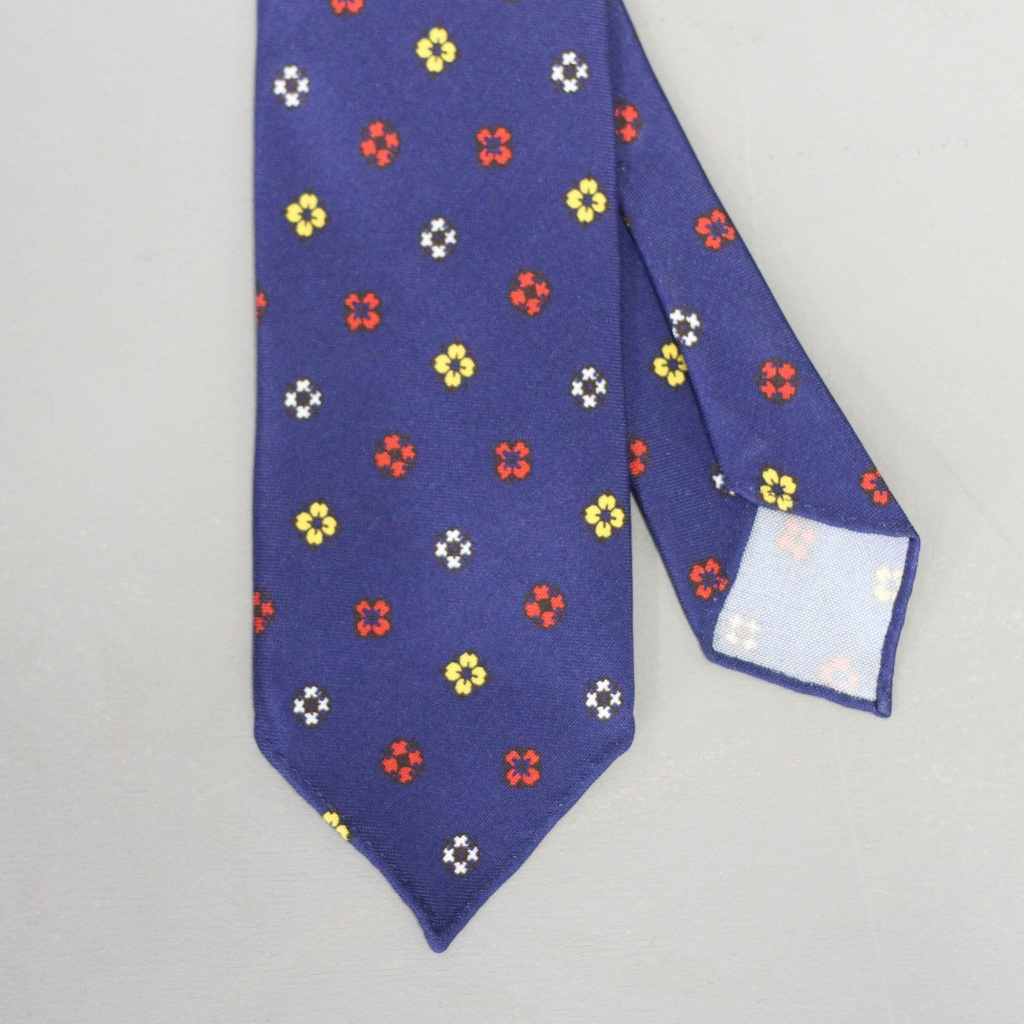 Drake's Tie Cross & Flower Blue