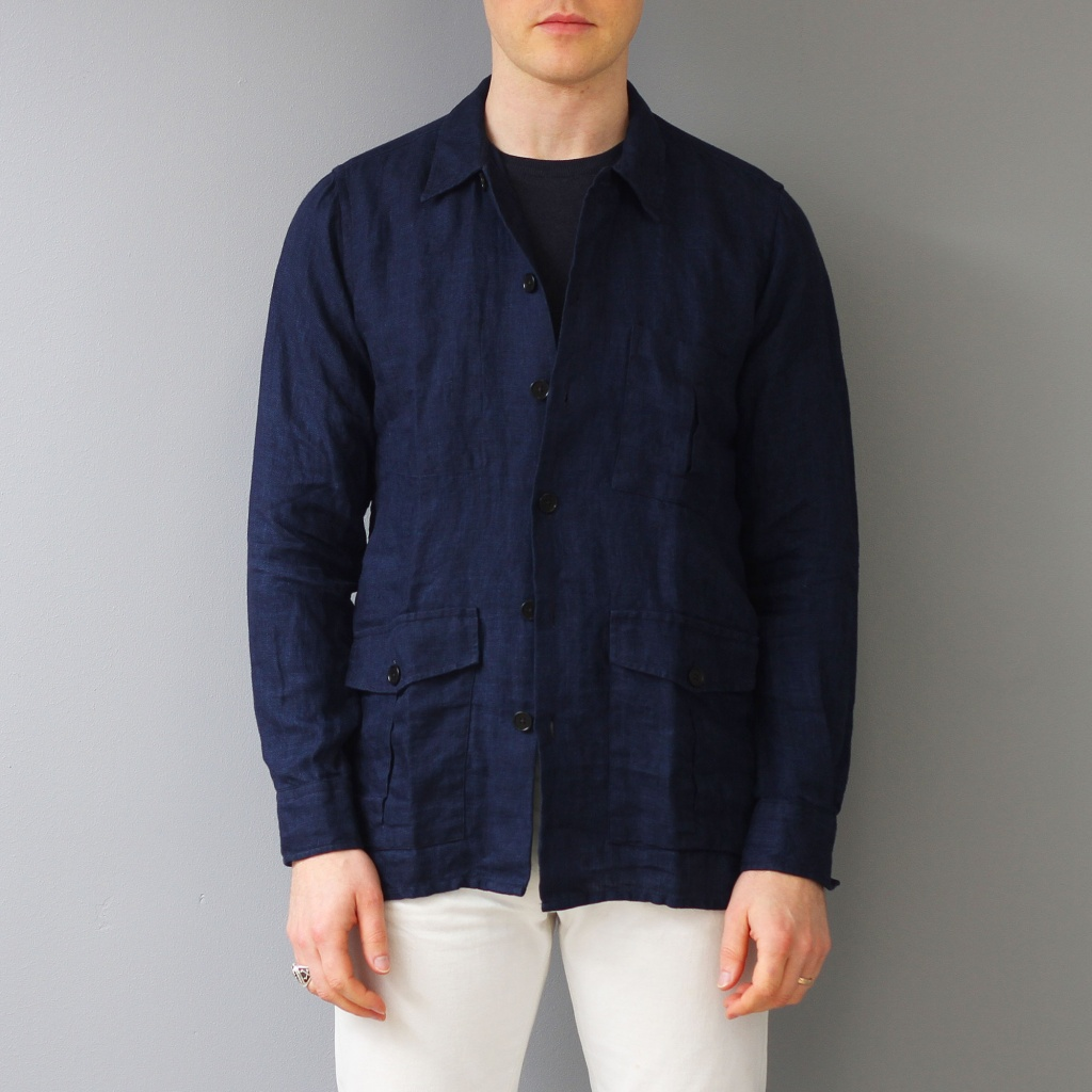 Drake's Overshirt Linen Twill Workwear Overshirt Navy