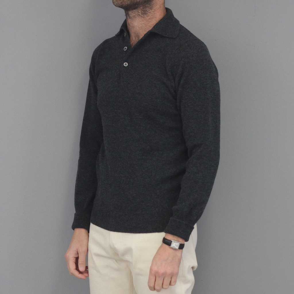 Drake's Knit Polo Shirt Long Sleeve Charcoal