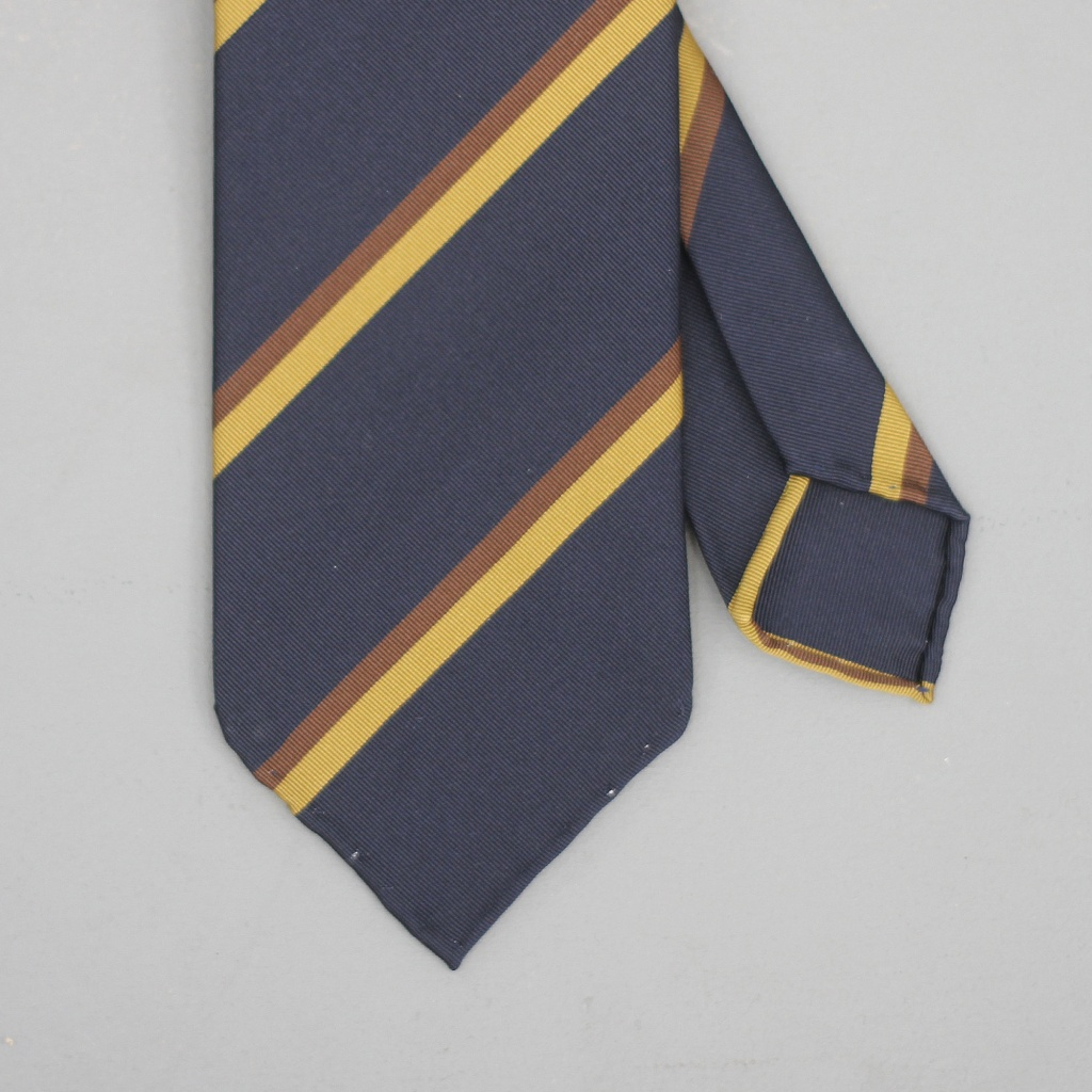 Drake's Tie Silk/Cotton Stripe Navy/Brown/Gold