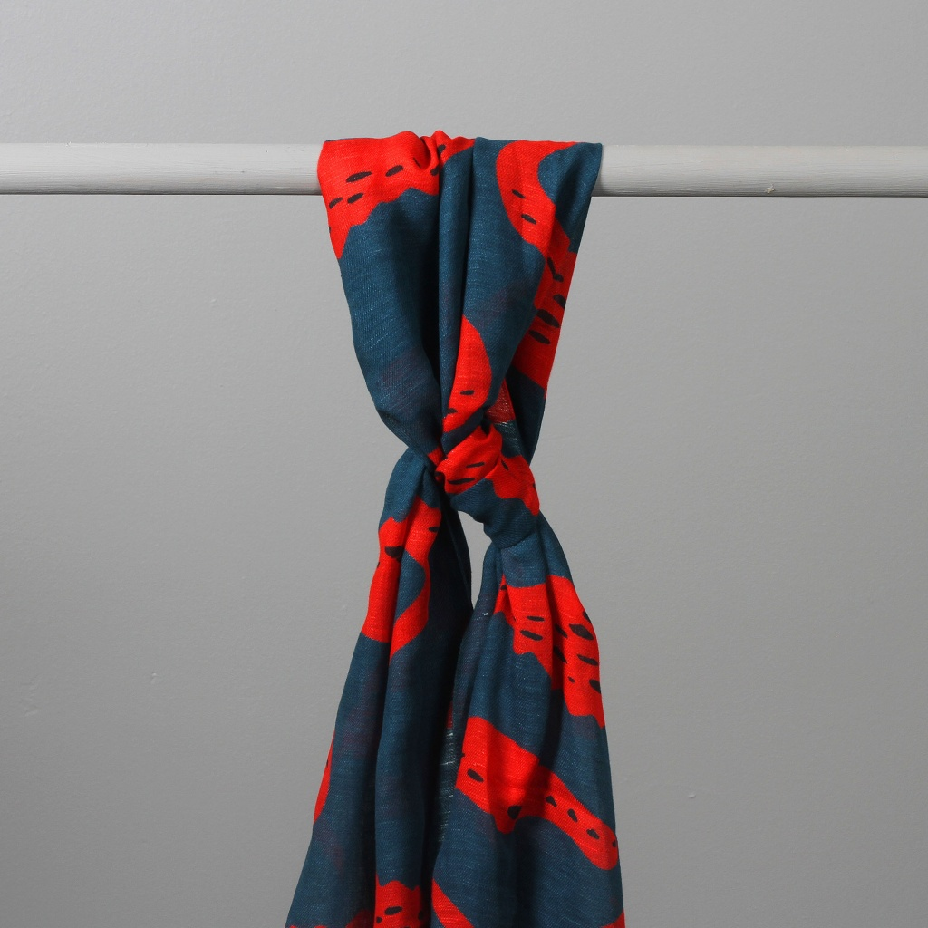 Drake's Scarf Navy and Red Crocodile Print
