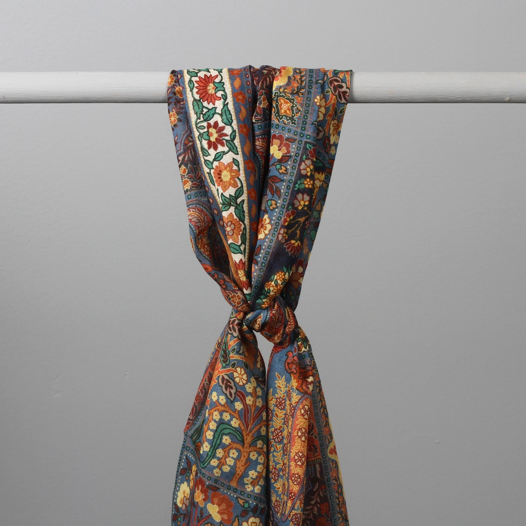 Drake's Scarf Patchwork Tapestry Blue & Brown