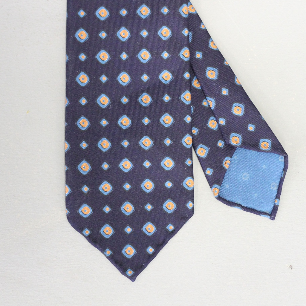 Drake's Tie Irregular Square Navy & Orange