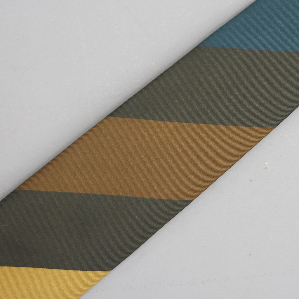Drake's Tie Silk/Cotton Broad Stripe Olive/Teal/Gold