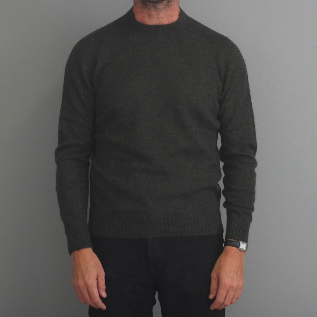 Drumohr Alpaca Crewneck Sweater Dark Green