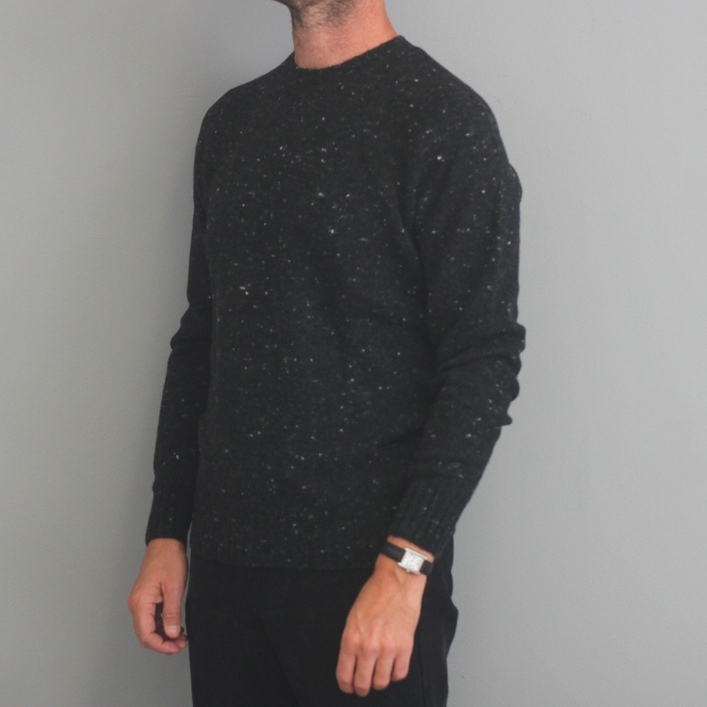 Drumohr Charcoal Donegal Crew Neck Sweater
