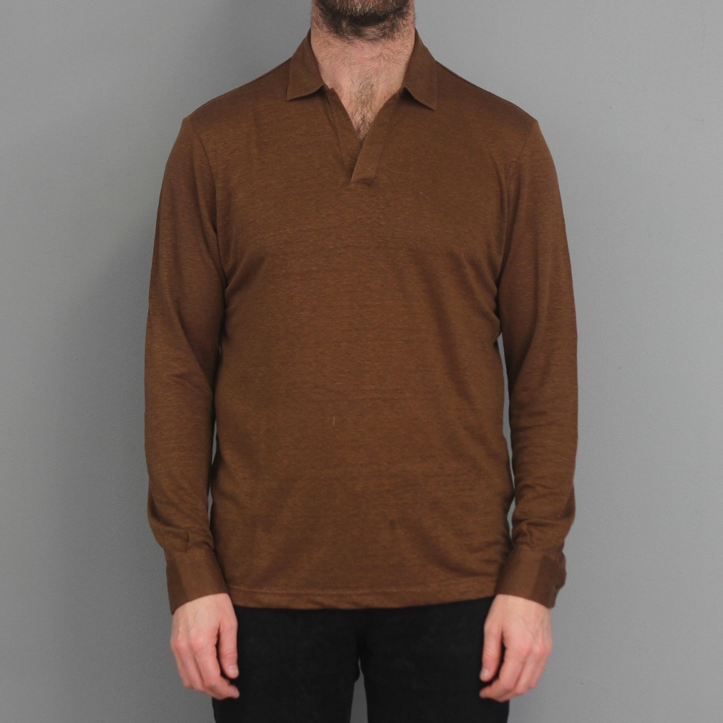 Barba Long Sleeve Linen Open Neck Polo Brown Melange