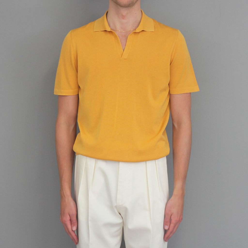 Drumohr Open Neck Polo Turmeric