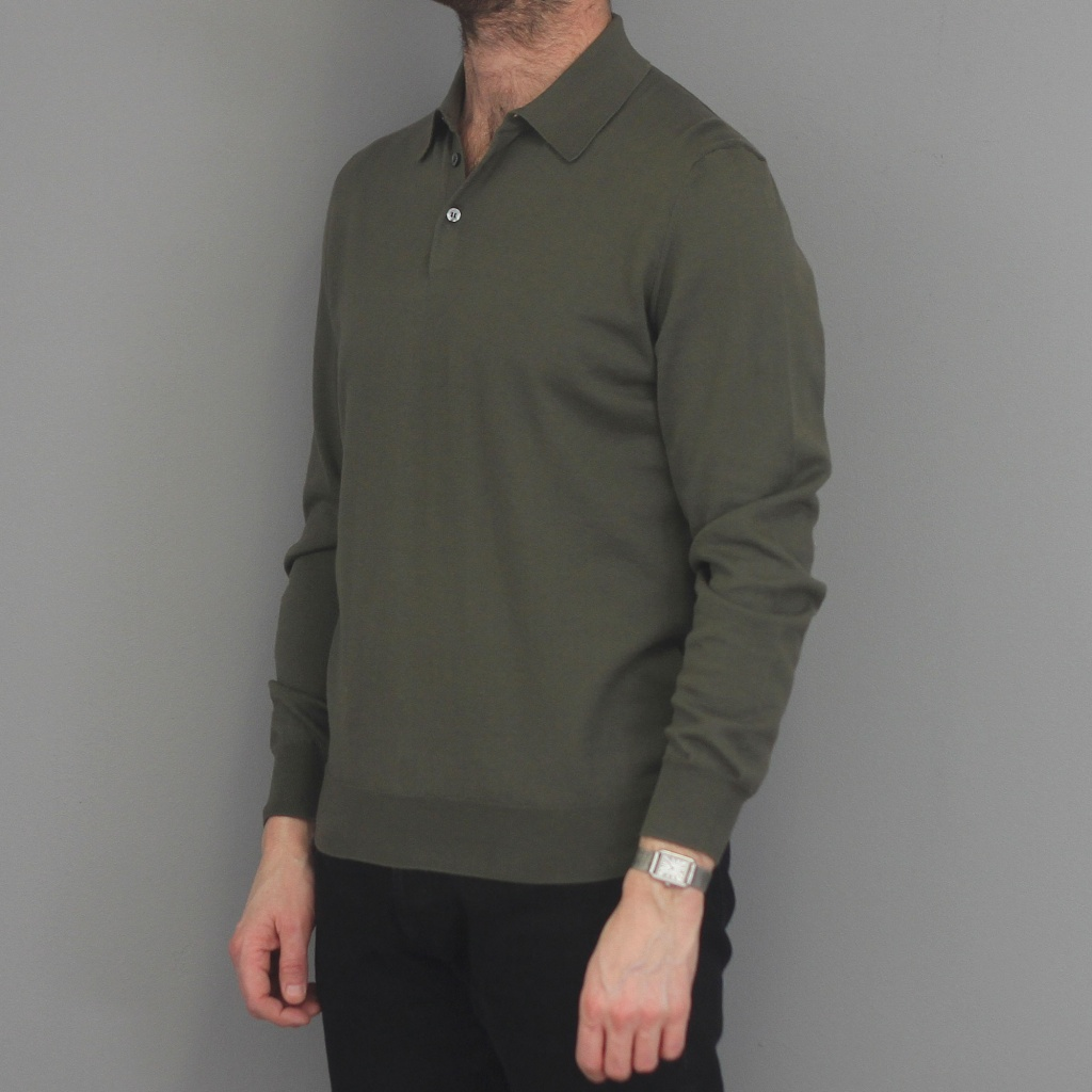 Drumohr Cashmere/Cotton Long Sleeve Polo Olive