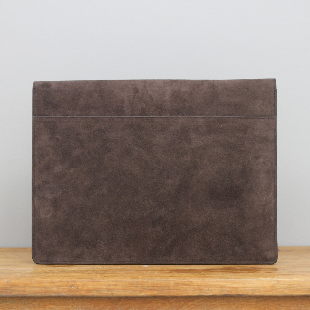 Frank Clegg Chocolate Brown Suede Lock Portfolio 15'