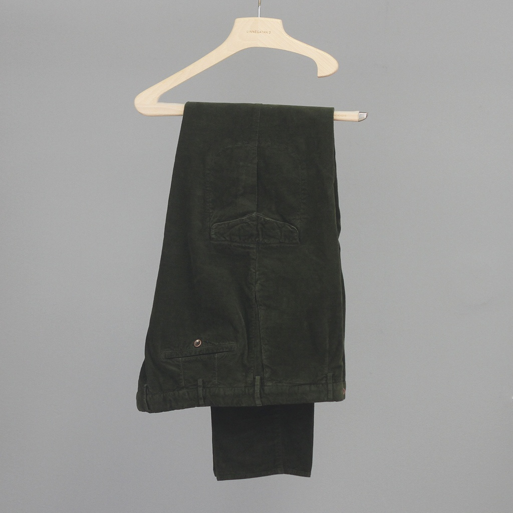 Incotex Tapered Fit Microcord Cargos Loden