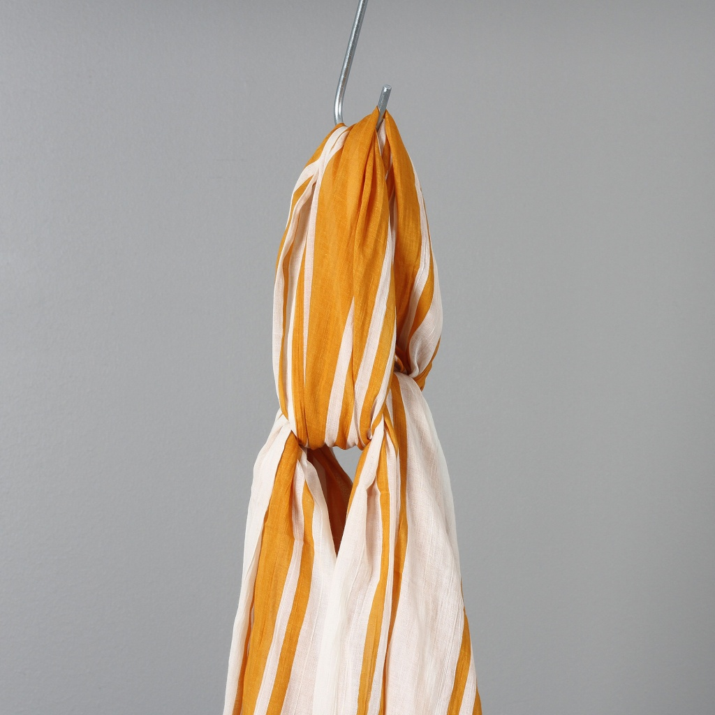 Lovat & Green Scarf Cotton Turmeric Stripe