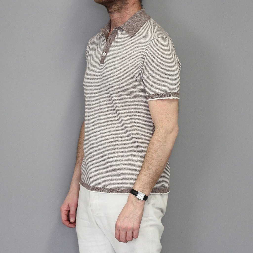 Morgano Short Sleeve Linen Cotton Polo Brown