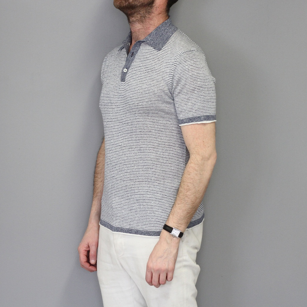 Morgano Short Sleeve Linen Cotton Polo Blue
