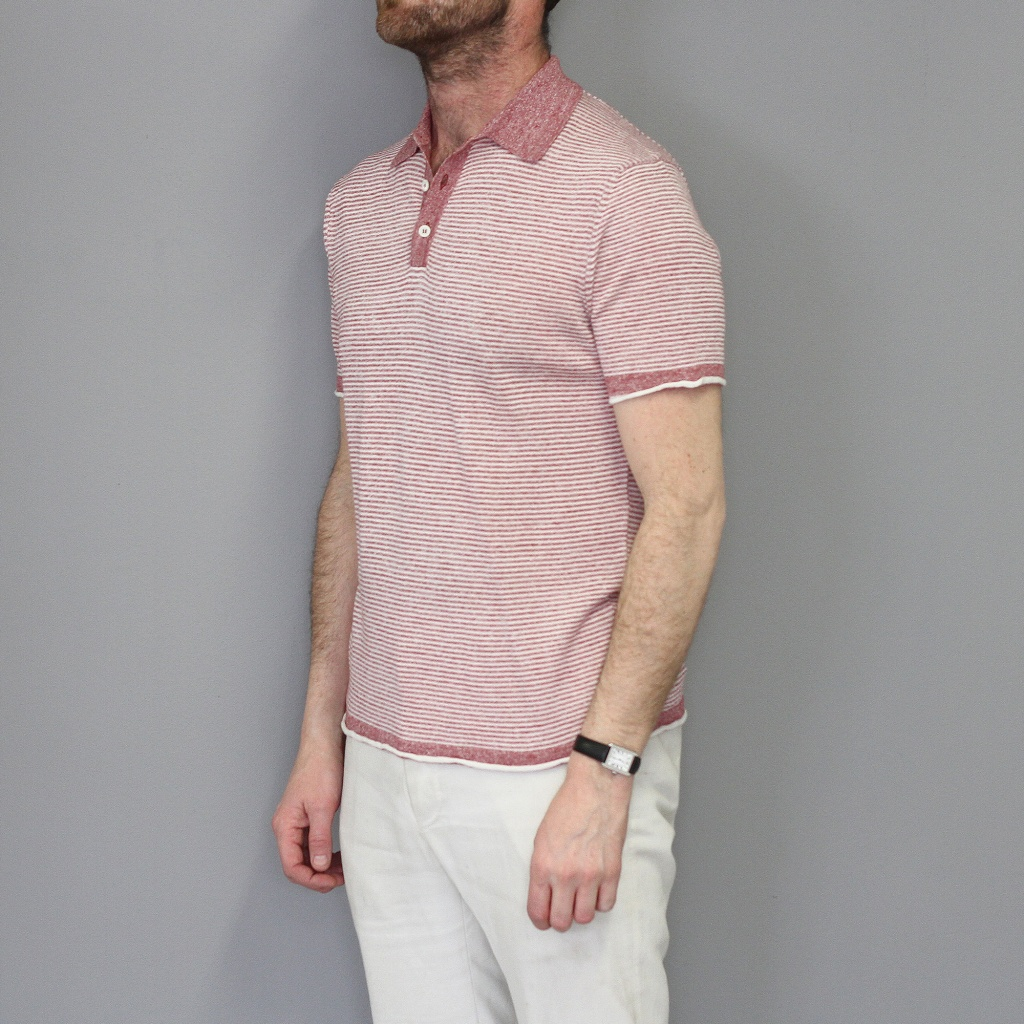 Morgano Short Sleeve Linen Cotton Polo Light Coral